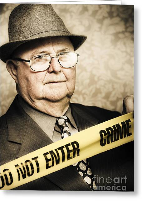 Intuitive Greeting Cards - Vintage portrait of a crime detective Greeting Card by Ryan Jorgensen