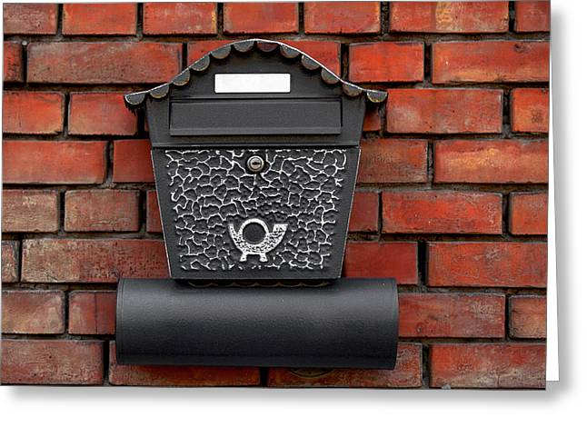 Postal Pyrography Greeting Cards - Vintage postbox on brick wall Greeting Card by Oliver Sved