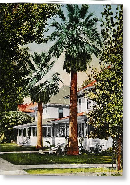 Old Neighbourhood Greeting Cards - Vintage postcard of wealthy neighbourhood in Fresno Calfiornia  Greeting Card by Patricia Hofmeester