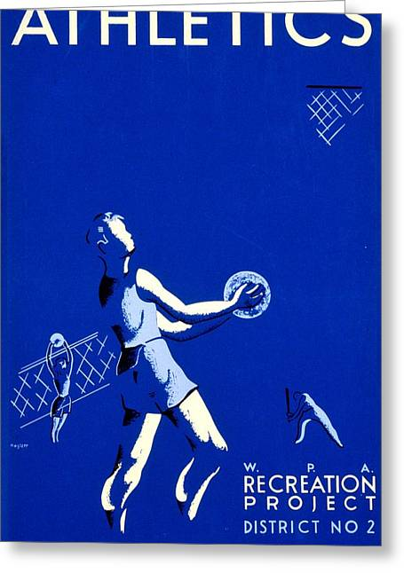 Franklin Roosevelt Greeting Cards - Vintage Poster - WPA - Athletics 2 Greeting Card by Benjamin Yeager