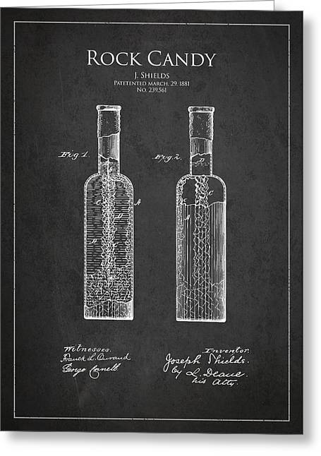 Candy Digital Greeting Cards - Vintage Rock Candy  Patent Drawing from 1881 Greeting Card by Aged Pixel
