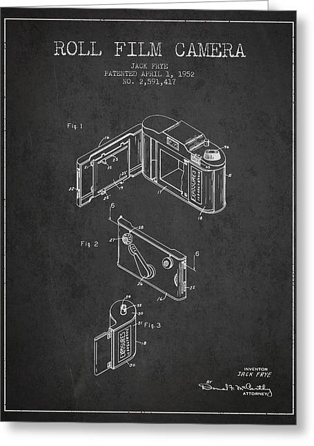 Camera Greeting Cards - Vintage roll film camera patent from 1952 Greeting Card by Aged Pixel