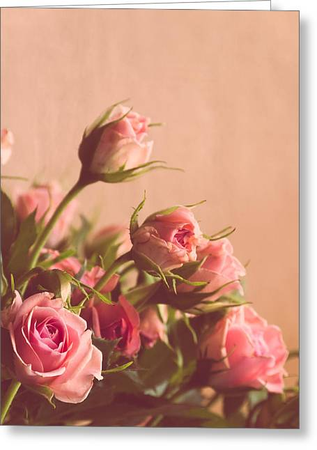 Vintage Beauty Greeting Cards - Pink Roses Greeting Card by Wim Lanclus
