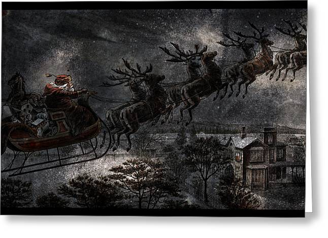 Old Saint Nick Greeting Cards - Vintage Santa Stormy Midnight Ride Reindeer Sleigh Greeting Card by John Stephens