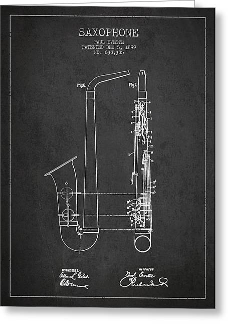 Adolphe Greeting Cards - Saxophone Patent Drawing From 1899 - Dark Greeting Card by Aged Pixel