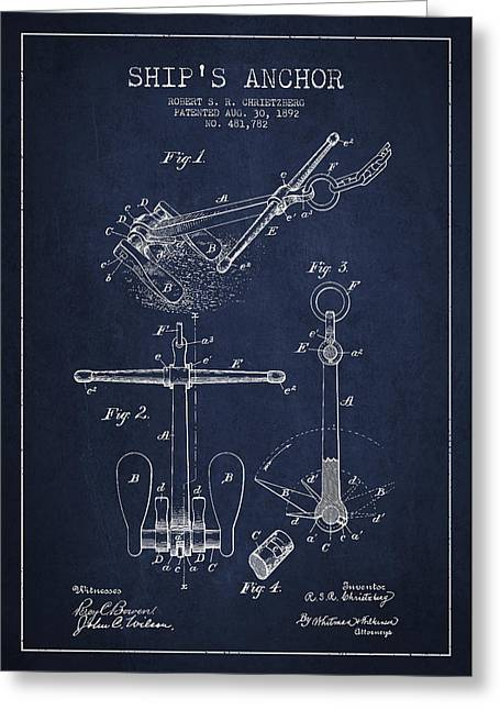 Antique Digital Art Greeting Cards - Vintage ship Anchor patent from 1892 Greeting Card by Aged Pixel