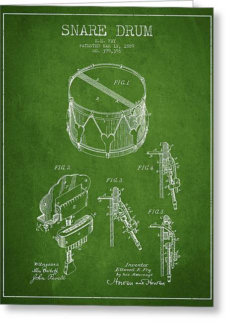 Snare Greeting Cards - Vintage Snare Drum Patent Drawing from 1889 - Green Greeting Card by Aged Pixel