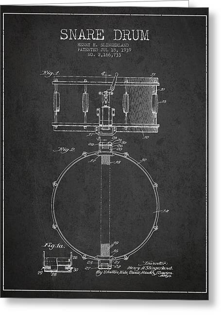 Snare Greeting Cards - Snare Drum Patent Drawing from 1939 - Dark Greeting Card by Aged Pixel