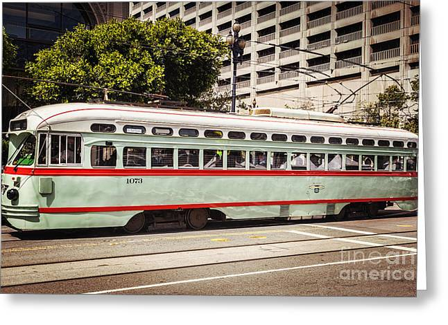 Streetcar Greeting Cards - Vintage Streetcar San Francisco Greeting Card by Colin and Linda McKie