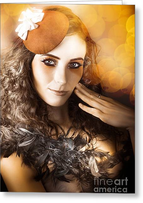 Vintage Style Actress Performing In French Beret Greeting Card by Jorgo Photography - Wall Art Gallery