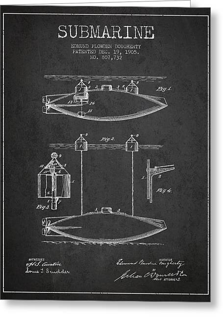 Submarine Greeting Cards - Vintage Submarine patent from 1905 Greeting Card by Aged Pixel