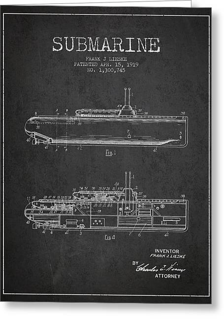 Submarine Greeting Cards - Vintage Submarine patent from 1919 Greeting Card by Aged Pixel
