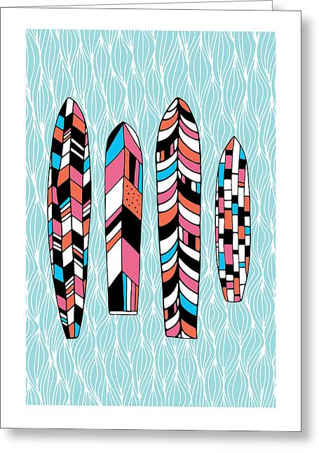 Susan Greeting Cards - Vintage Surfboards Part2 Greeting Card by Susan Claire
