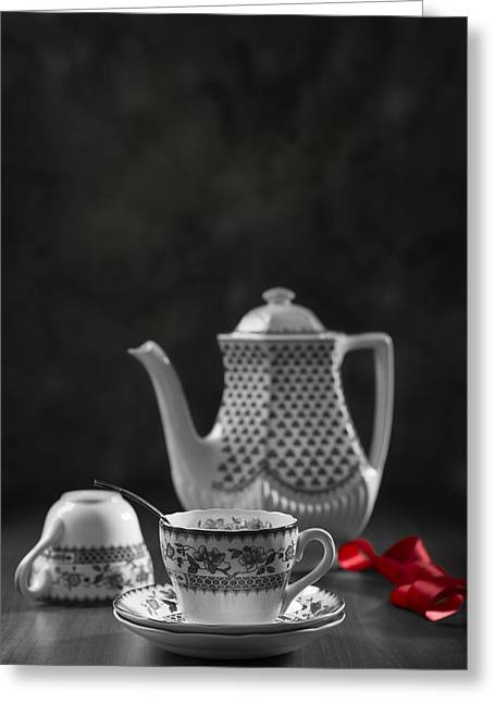 Antique Table Greeting Cards - Vintage Teacups Greeting Card by Amanda And Christopher Elwell