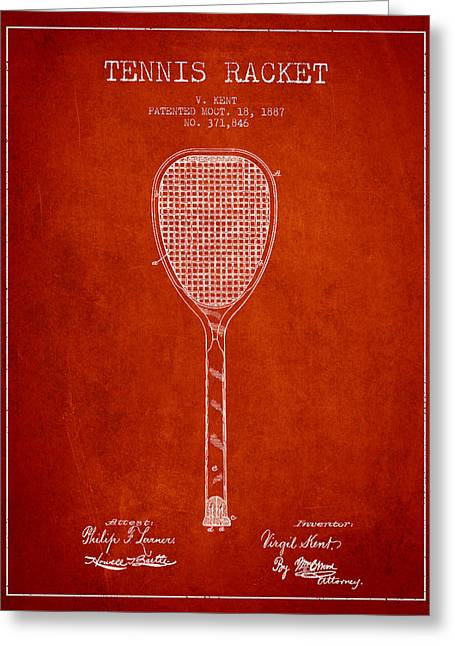 Tennis Racket Greeting Cards - Vintage Tennnis Racketl Patent Drawing from 1887 Greeting Card by Aged Pixel