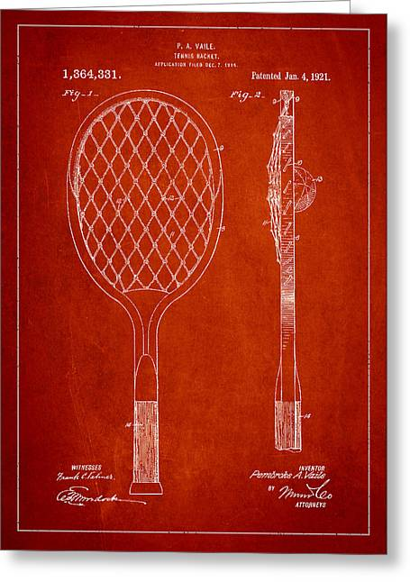 Tennis Racket Greeting Cards - Vintage Tennnis Racketl Patent Drawing from 1921 Greeting Card by Aged Pixel