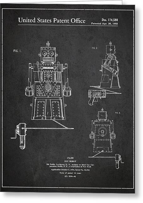 Starwars Greeting Cards - Vintage Toy Robot Patent Drawing from 1955 Greeting Card by Aged Pixel