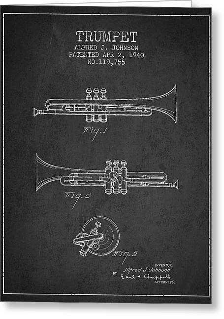 Trumpet Digital Greeting Cards - Vintage Trumpet Patent from 1940 - Dark Greeting Card by Aged Pixel