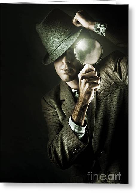Vintage Undercover Spy On Dark Background Greeting Card by Jorgo Photography - Wall Art Gallery