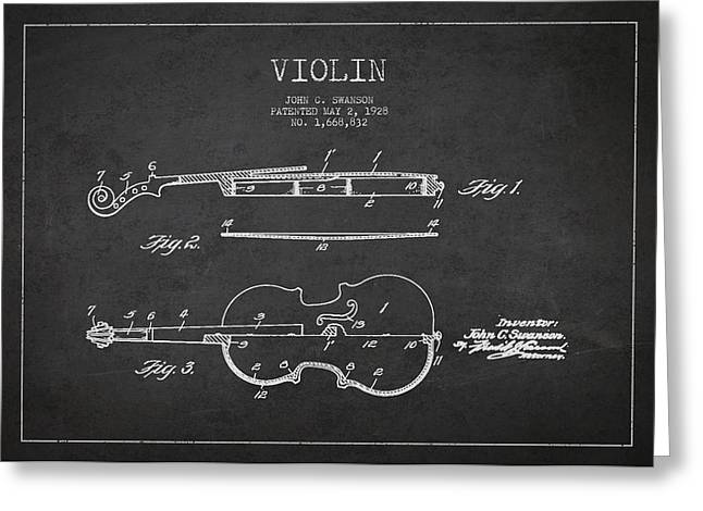 Fiddle Greeting Cards - Vintage Violin Patent Drawing From 1928 Greeting Card by Aged Pixel