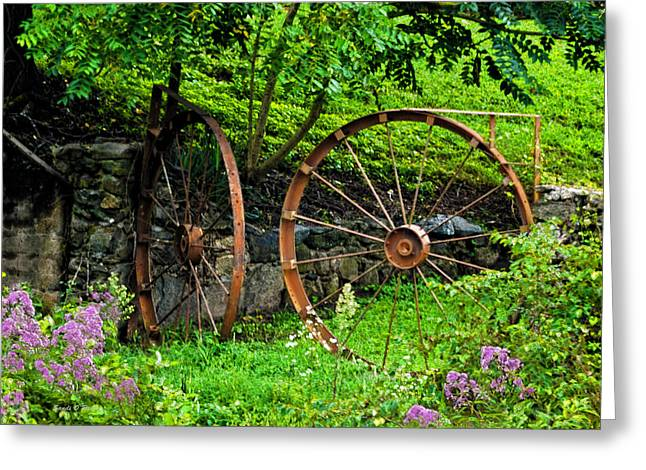 Grist Mill Greeting Cards - Vintage Wagon Wheel Gate Greeting Card by Sandi OReilly