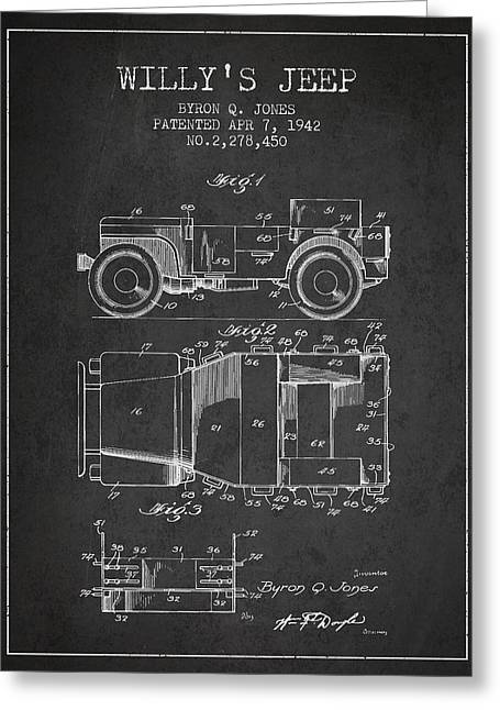 Jeeps Greeting Cards - Vintage Willys Jeep Patent from 1942 Greeting Card by Aged Pixel