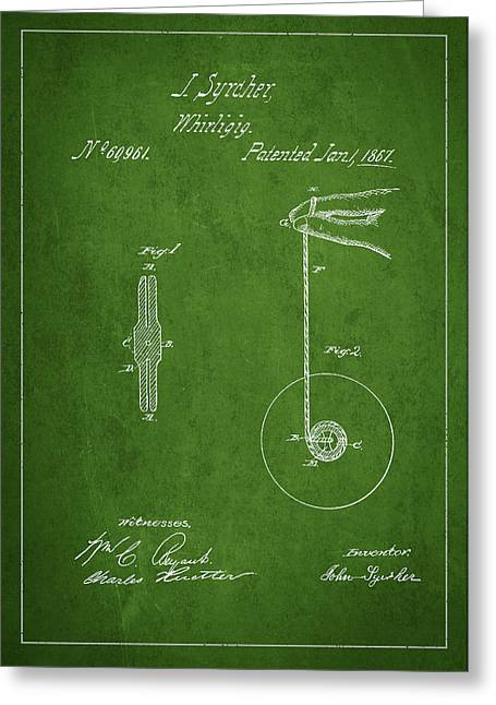 Technical Greeting Cards - Vintage Yoyo Patent Drawing from 1867 Greeting Card by Aged Pixel