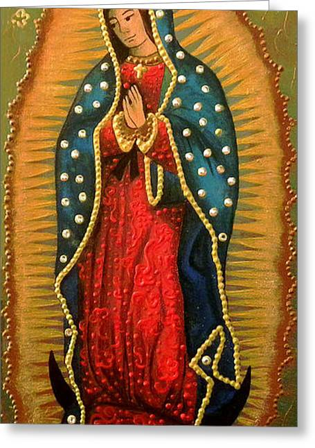 Virgen De Guadalupe Art Greeting Cards - VIRGEN DE GUADALUPE - Guadalupe Virgin - Lady of Guadalupe Greeting Card by Fanny Diaz