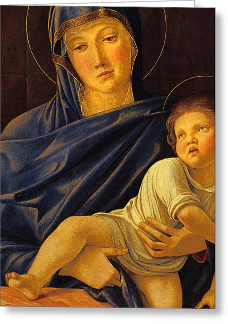 Virgin Greeting Cards - Virgin and Child Greeting Card by Giovanni Bellini