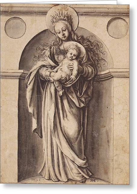 Baby Jesus Drawings Greeting Cards - Virgin and Child Greeting Card by