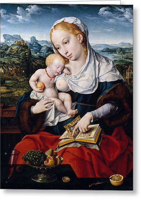 Cleves Greeting Cards - Virgin and Child Greeting Card by Joos van Cleve