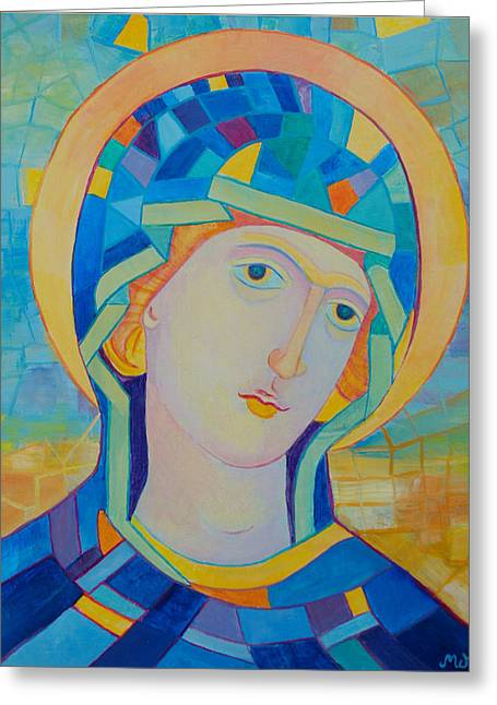 Byzantine Mixed Media Greeting Cards - Virgin Mary contemporary icon Greeting Card by Magdalena Walulik
