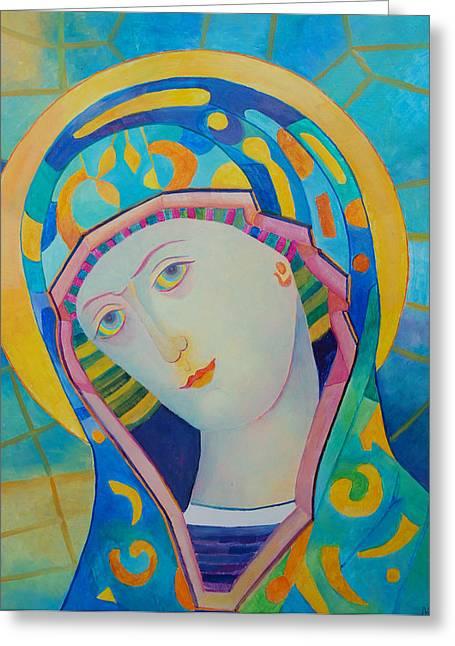 Christ Child Mixed Media Greeting Cards - Virgin Mary modern catholic icon Greeting Card by Magdalena Walulik
