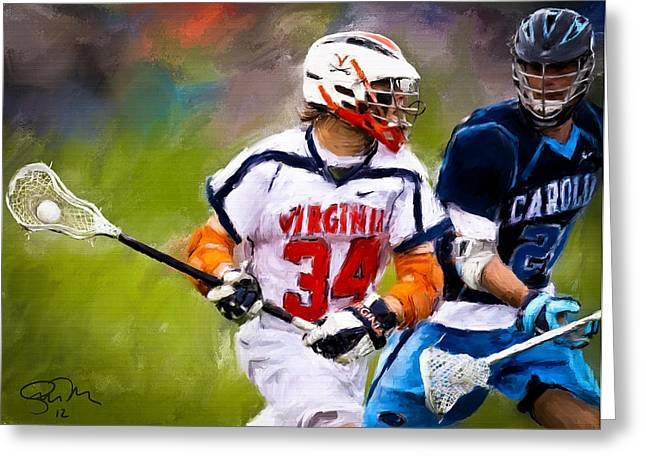 Scott Melby Greeting Cards - College Lacrosse 6 Greeting Card by Scott Melby