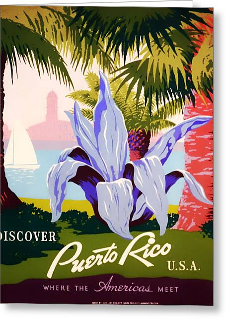 Puerto Rico Greeting Cards - Visit Puerto Rico 1938 Greeting Card by Mountain Dreams
