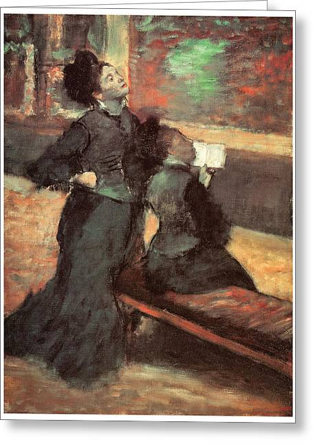 Visit To A Museum Greeting Card by Edgar Degas