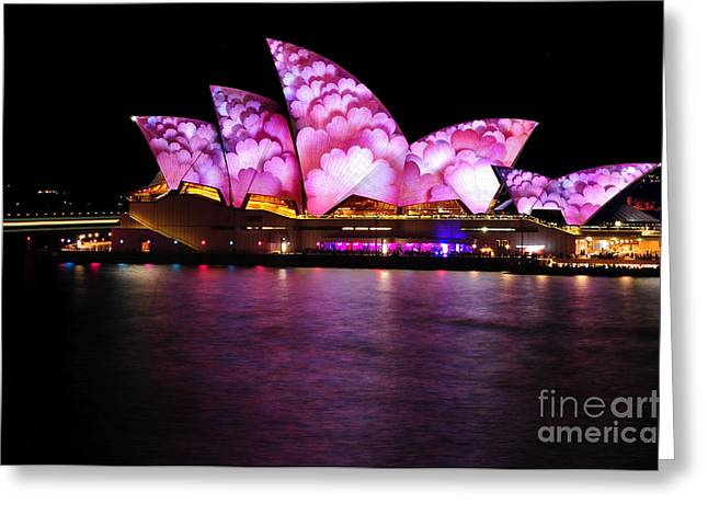 Light Show Greeting Cards - Vivid Sydney 2014 - Opera House 2 by Kaye Menner Greeting Card by Kaye Menner