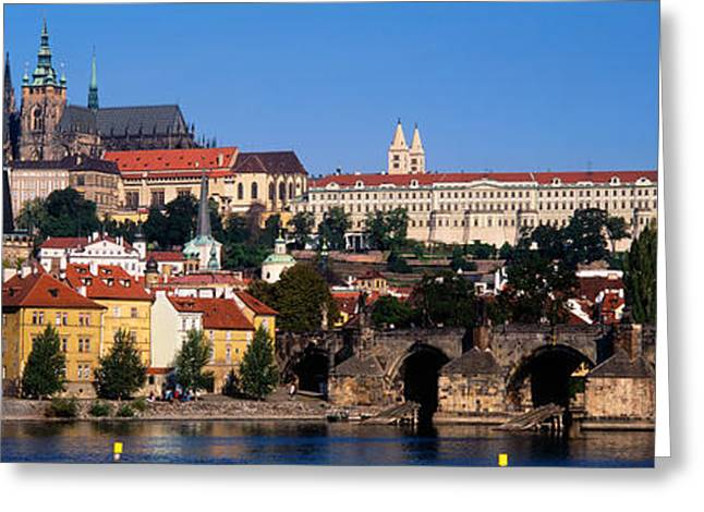 Prague Castle Greeting Cards - Vltava River, Prague, Czech Republic Greeting Card by Panoramic Images