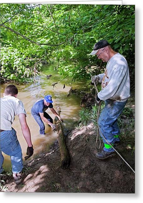 Volunteers Clearing Log Jam Greeting Card by Jim West