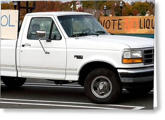 Arguing Greeting Cards - Vote Yes Vote NO Ford Trucks Greeting Card by Iris Richardson