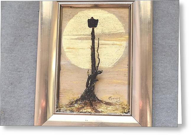 Pieces Sculptures Greeting Cards - Vulture with Gold Sun Greeting Card by Roger Swezey