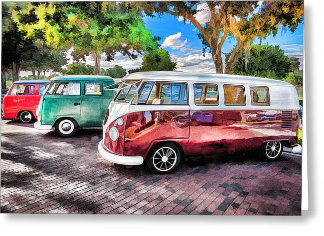 Old Trucks Greeting Cards - VW Bus Stop 1964 1961 1968 Vans Trucks Painted  Greeting Card by Rich Franco