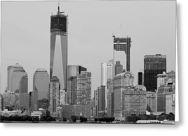 1 W T  C  And Lower Manhatten In Black And White Greeting Card by Rob Hans