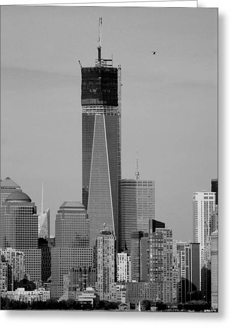 Wtc 11 Greeting Cards - 1 W T C HELOS and BOATS in BLACK AND WHITE Greeting Card by Rob Hans