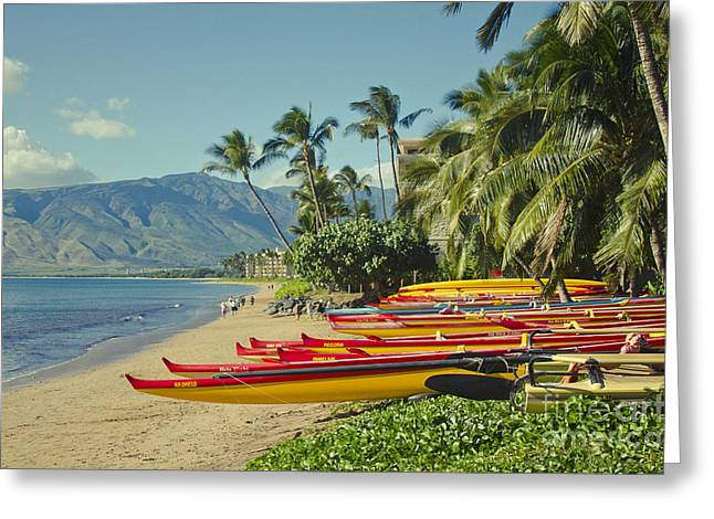 Honuaula Greeting Cards - Sugar Beach Kihei Maui Hawaii  Greeting Card by Sharon Mau