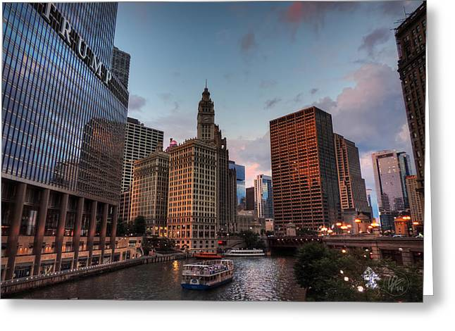 Hotels Greeting Cards - Wacker - Michigan Historic District of Chicago 002 Greeting Card by Lance Vaughn