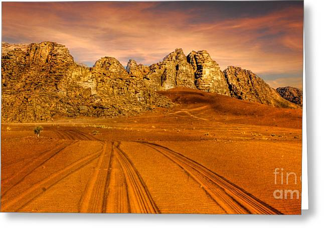 Jordanian Greeting Cards - Wadi Rum Jordan Greeting Card by Dan Yeger
