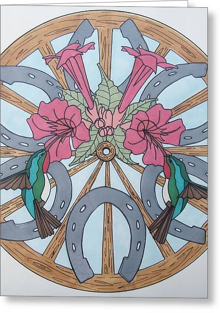 Wagon Wheels Drawings Greeting Cards - Wagon Wheel and HUmmingbird Mandala Greeting Card by Kate Lawrance