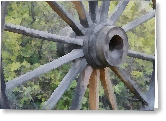 Wagon Wheel Greeting Card by Ernie Echols