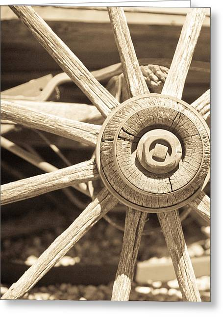 Wooden Wagons Greeting Cards - Wagon Wheel Greeting Card by Gilbert Artiaga
